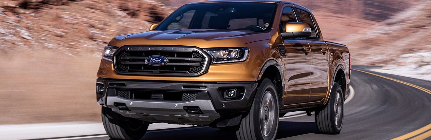 2019 Ford Ranger on a curved road