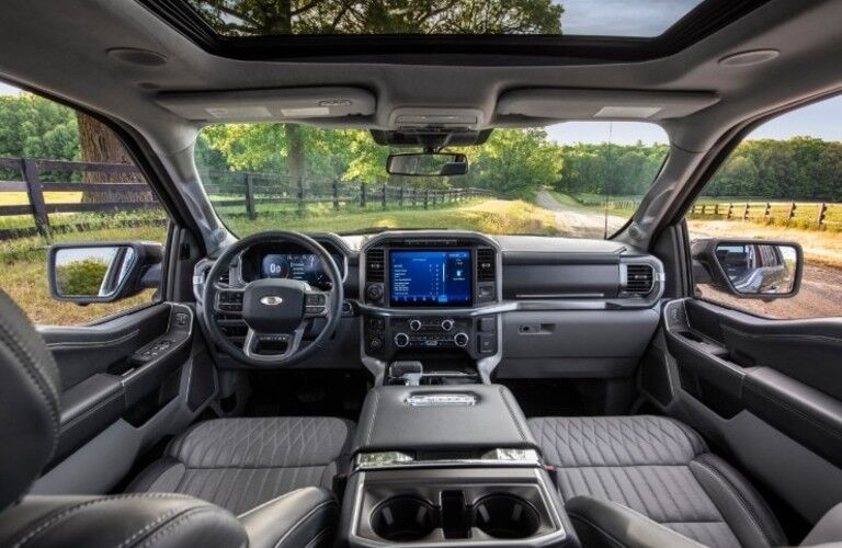 Interior driver area of the 2021 Ford F-150