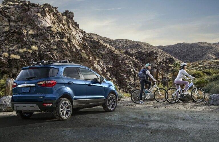 2021 Ford EcoSport with bikers in front of it