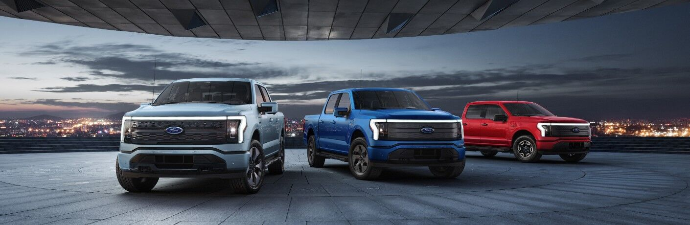 Three 2022 Ford F-250 Lightning models from exterior front