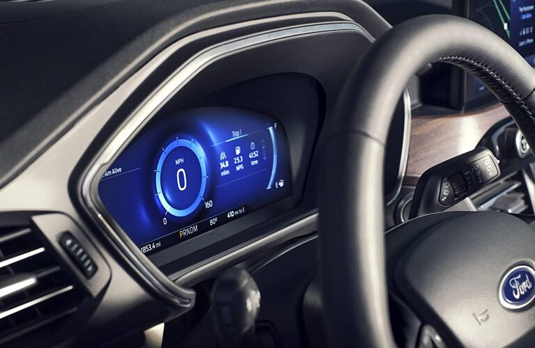 Wheel and driver information cluster of 2020 Ford Escape
