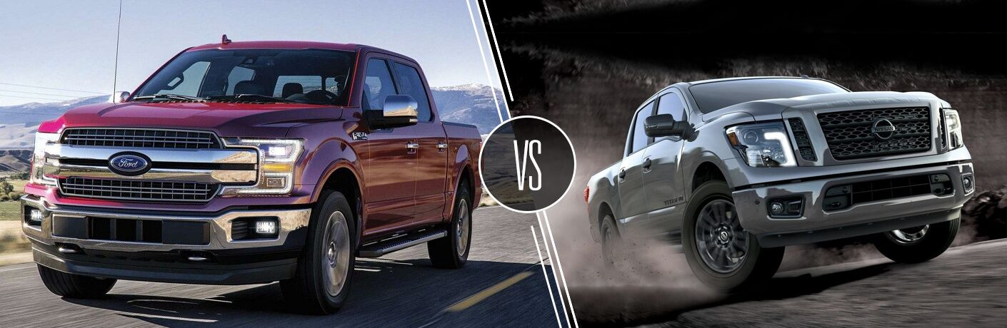 Front driver angle of a red 2019 Ford F-150 on right VS 2019 Front passenger angle of a gray 2019 Nissan TITAN on right