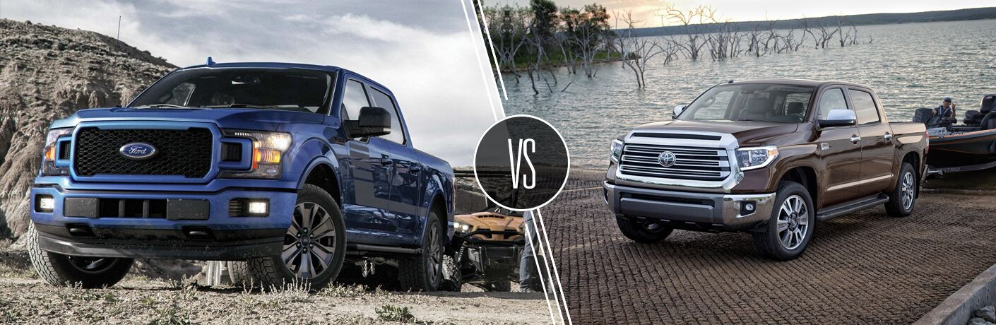 "2019 Ford F-150 and 2019 Toyota Tundra, separated by a diagonal line and ""VS"" logo."