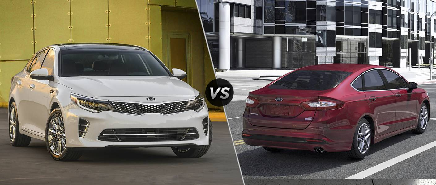 2016 Kia Optima vs. 2016 Ford Fusion midsize sedans Friendly Kia