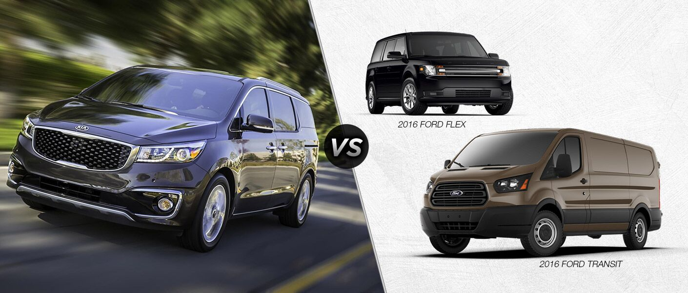 2016 Kia Sedona vs. 2016 Ford Flex vs. 2016 Ford Transit