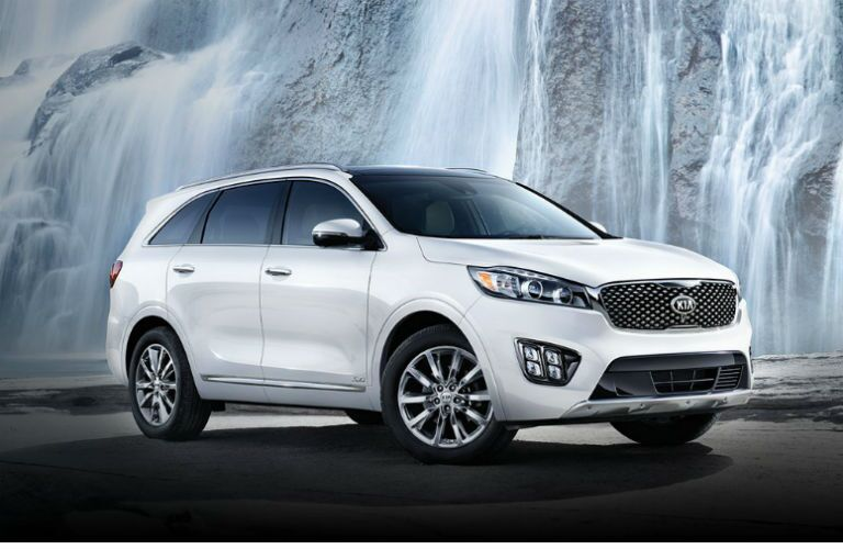 2017 kia sorento in white against cave background