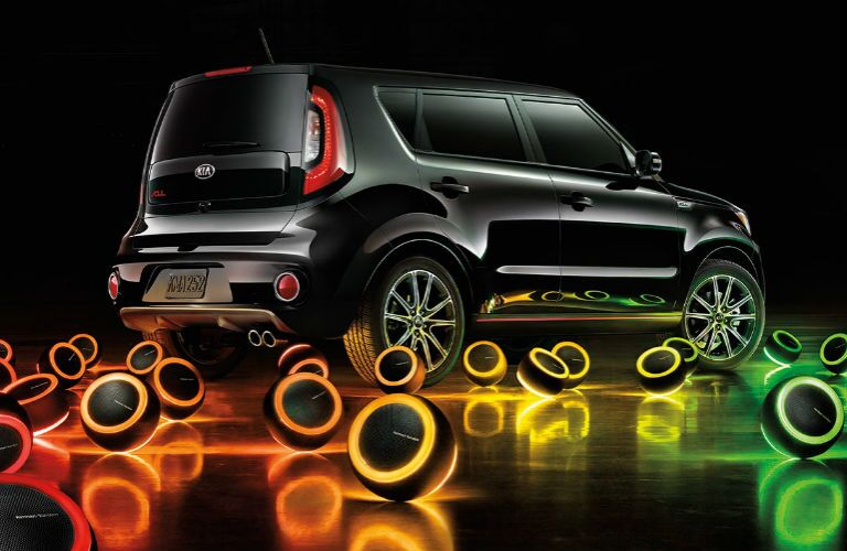 2017 kia soul in black with balls of glowing light surrounding