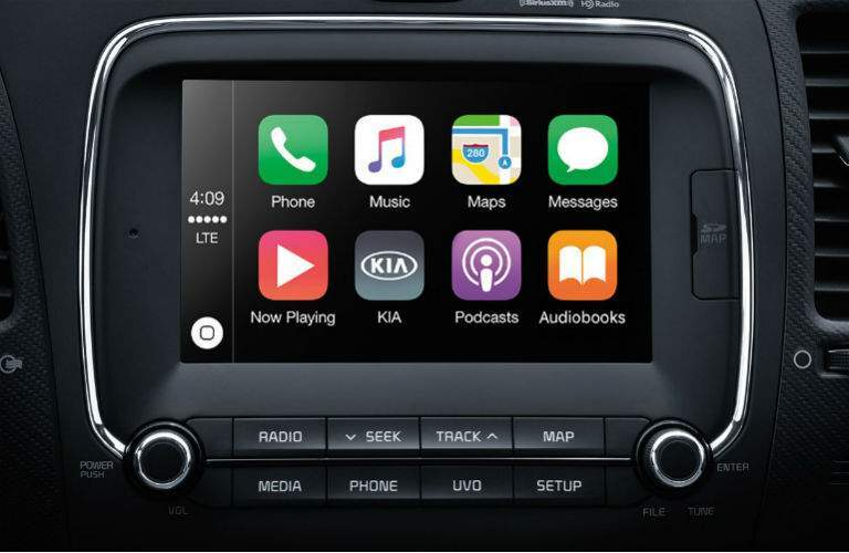 interior of 2018 kia forte showing infotainment system with apple carplay engaged