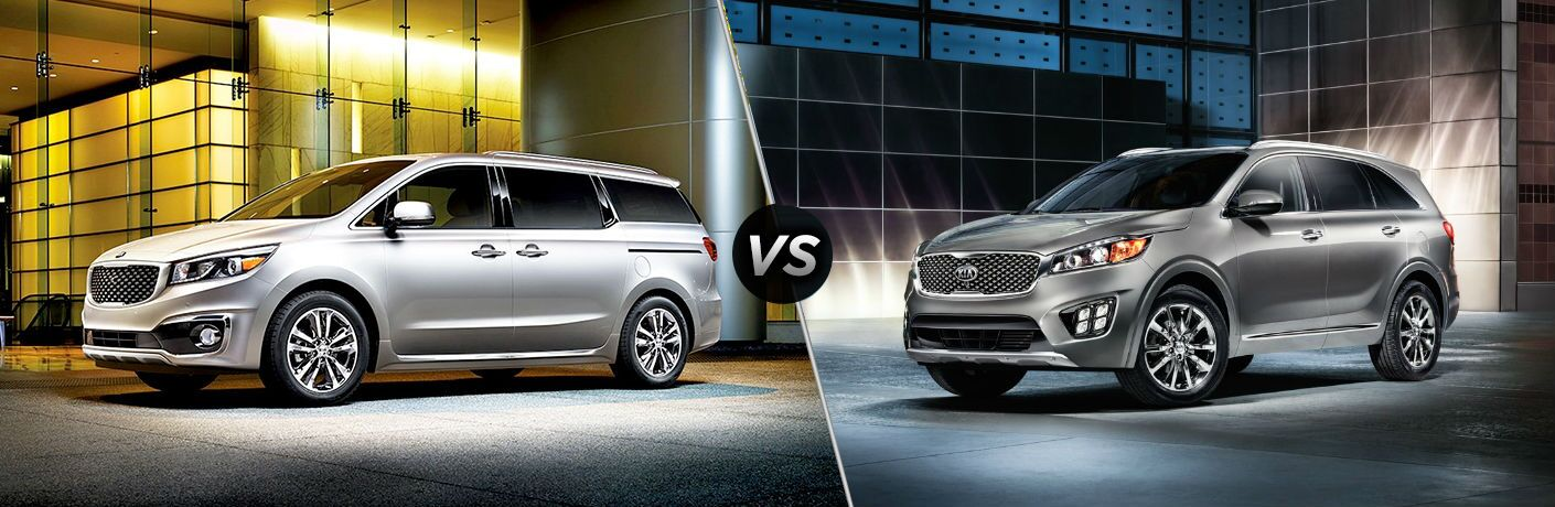 split screen comparison between 2018 kia sedona and 2018 kia sorento models