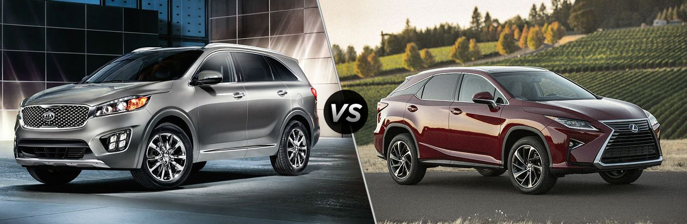 2018 kia sorento and 2018 lexus rx 350 in split screen