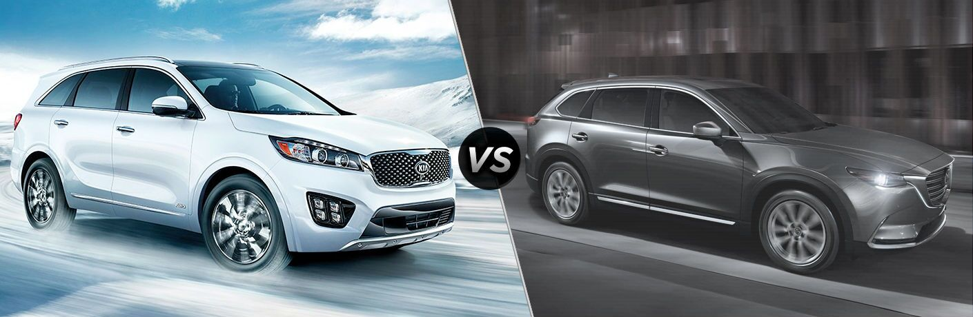 2018 Kia Sorento Vs. 2018 Mazda CX-9 split screen with white sorento and gray cx-9