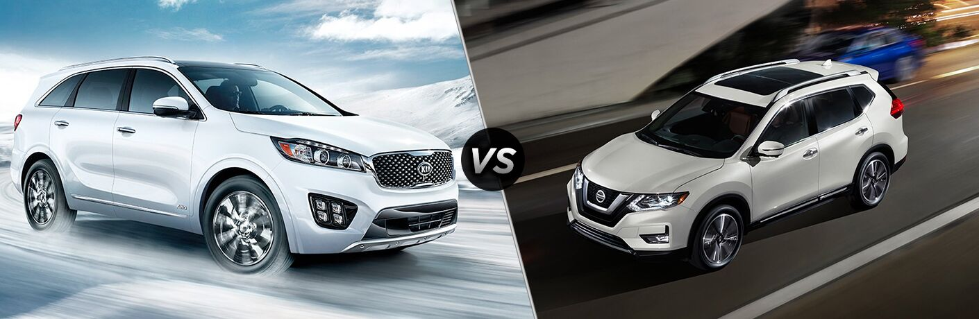 2018 kia sorento vs 2018 nissan rogue split screen image both in white and drinking