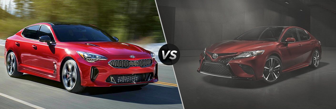 2018 Kia Stinger vs 2018 toyota camry split screen image