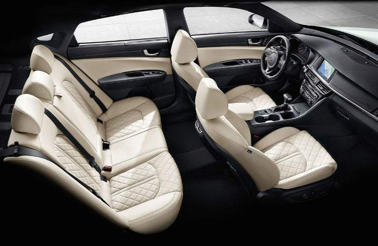 2018 kia optima interior seating shown with quilted nappa leather seating