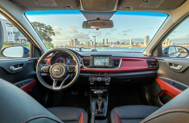 interior of 2018 kia rio from back seat