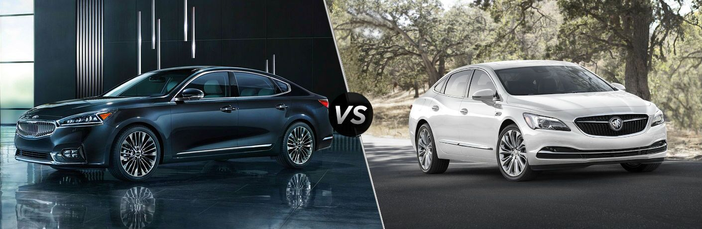 2018 kia cadenza and 2018 white buick lacrosse on split screen