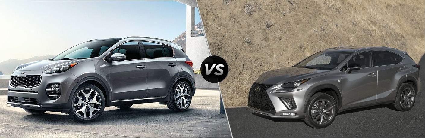 2018 kia sportage and 2018 lexus nx 300 in side by side split screen image