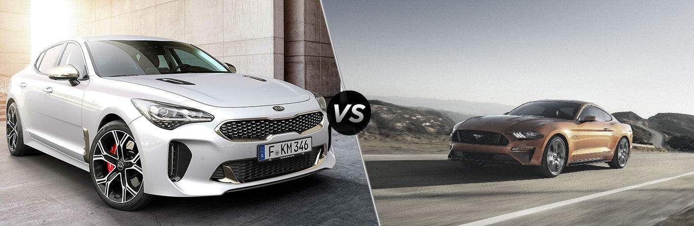 split screen image showing 2018 kia stinger gt and 2018 ford mustang