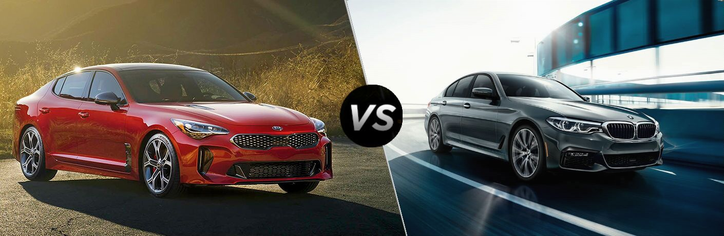 split screen comparison between the 2018 kia stinger gt and 2018 bmw 540i