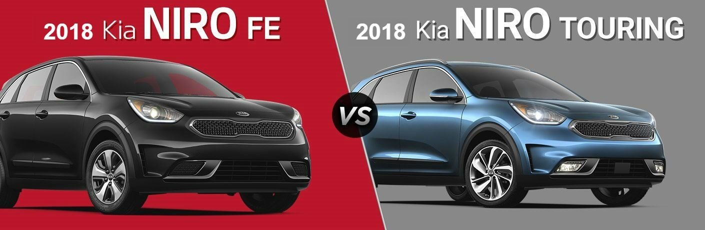 2018 kia niro fe and 2018 kia niro touring trim level comparison split screen image