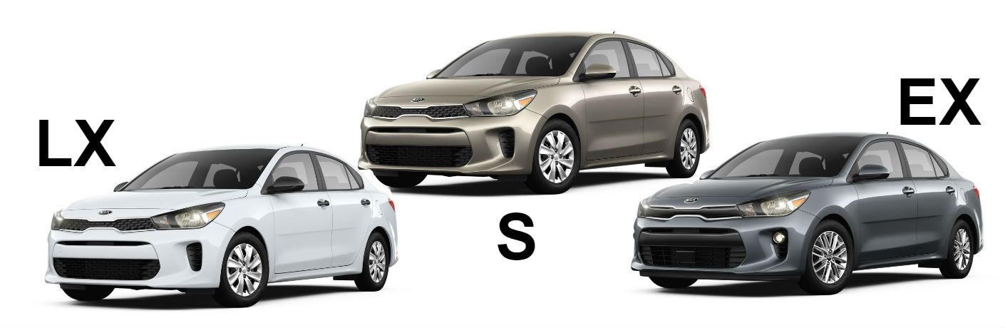 Comparison image showing three trim levels of 2018 kia rio