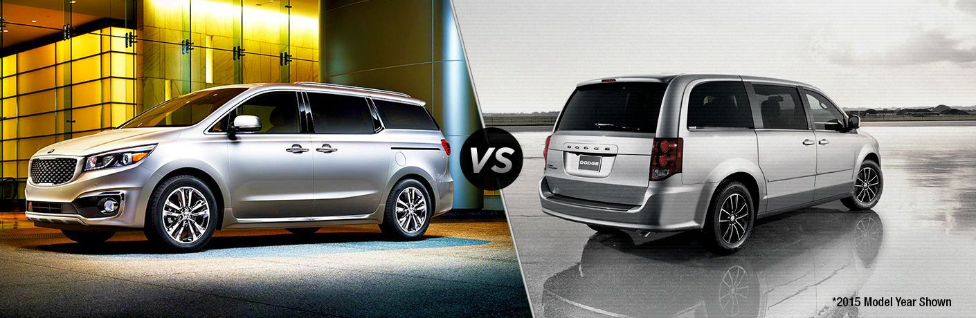 split screen comparison between 2018 kia sedona and 2018 dodge grand caravan