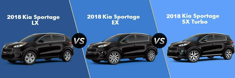 split screen comparison of 2018 kia sportage trim levels lx ex and sx turbo