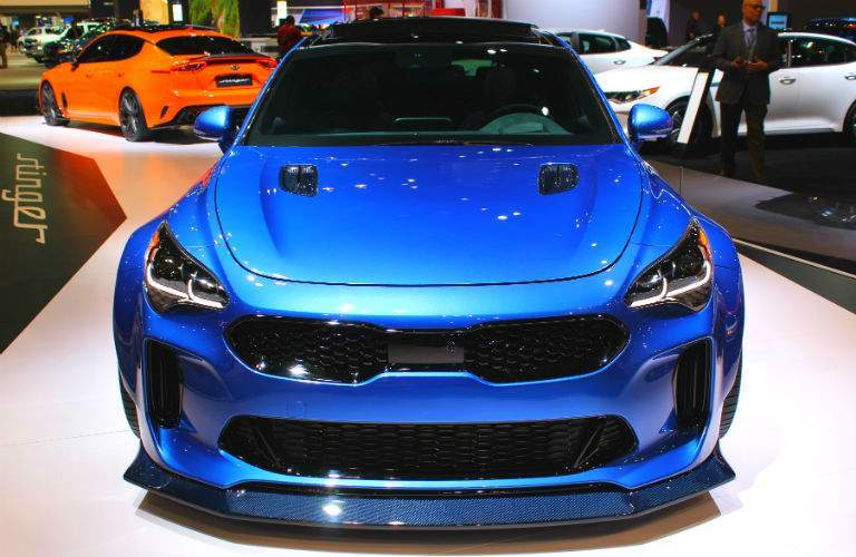blue 2019 kia stinger gt at chicago auto show