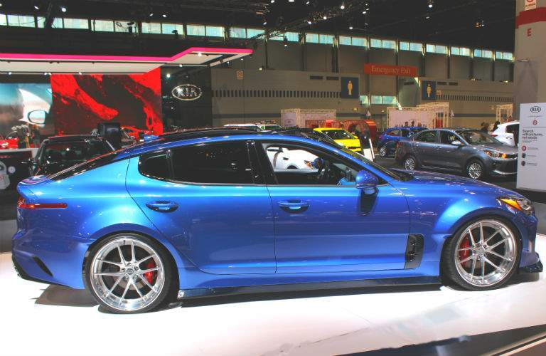 blue 2018 kia stinger gt at chicago auto show