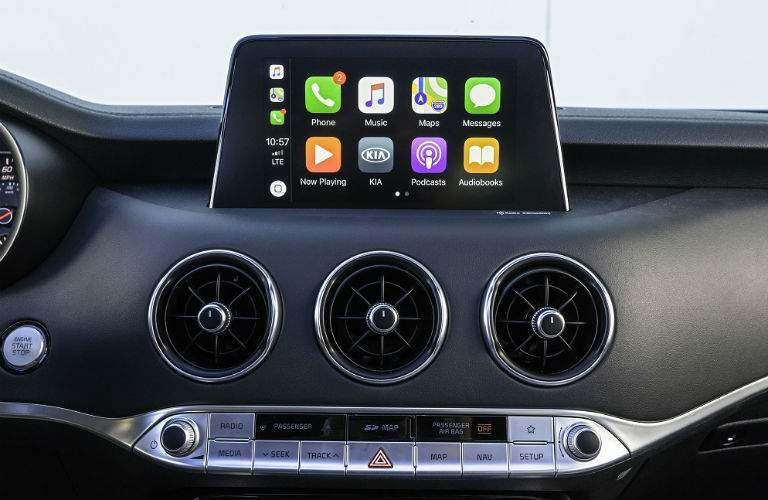 Infotainment system with apple carplay in 2018 kia stinger seen head on