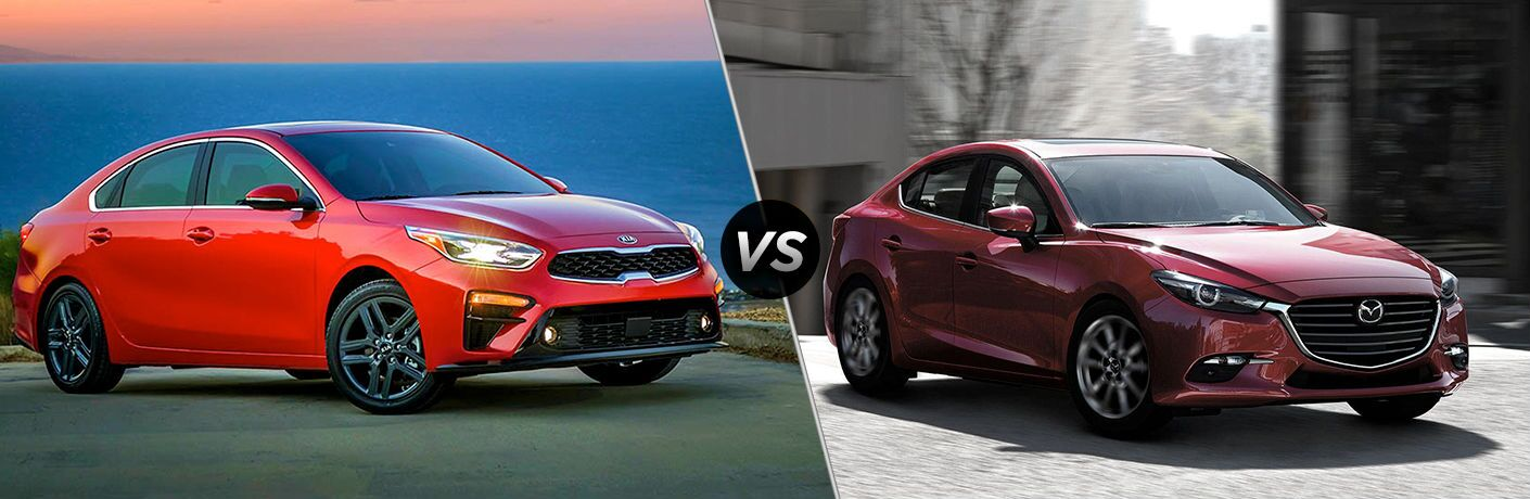 2019 Kia Forte And 2018 Mazda3 Shown On Split Screen