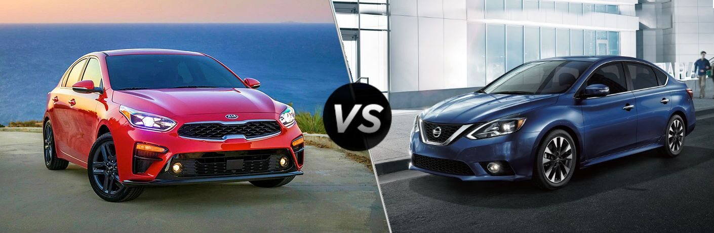 2019 Kia Forte Vs. 2019 Nissan Sentra on split screen image