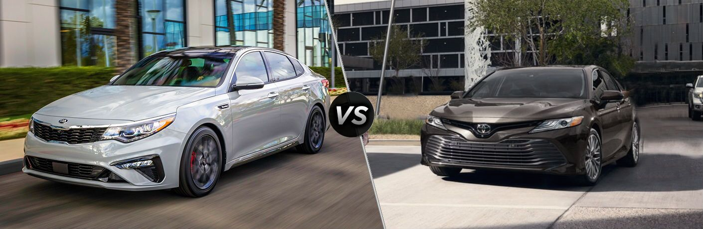 split screen image showing difference between 2019 kia optima and 2018 toyota camry