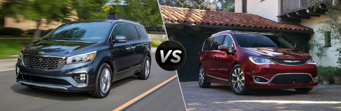 split screen image showing 2019 kia sedona and 2019 chrysler pacifica side by side