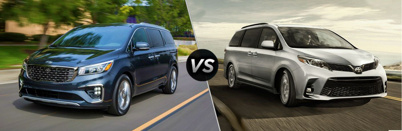 split screen battle between 2019 Kia Sedona Vs. 2019 Toyota Sienna