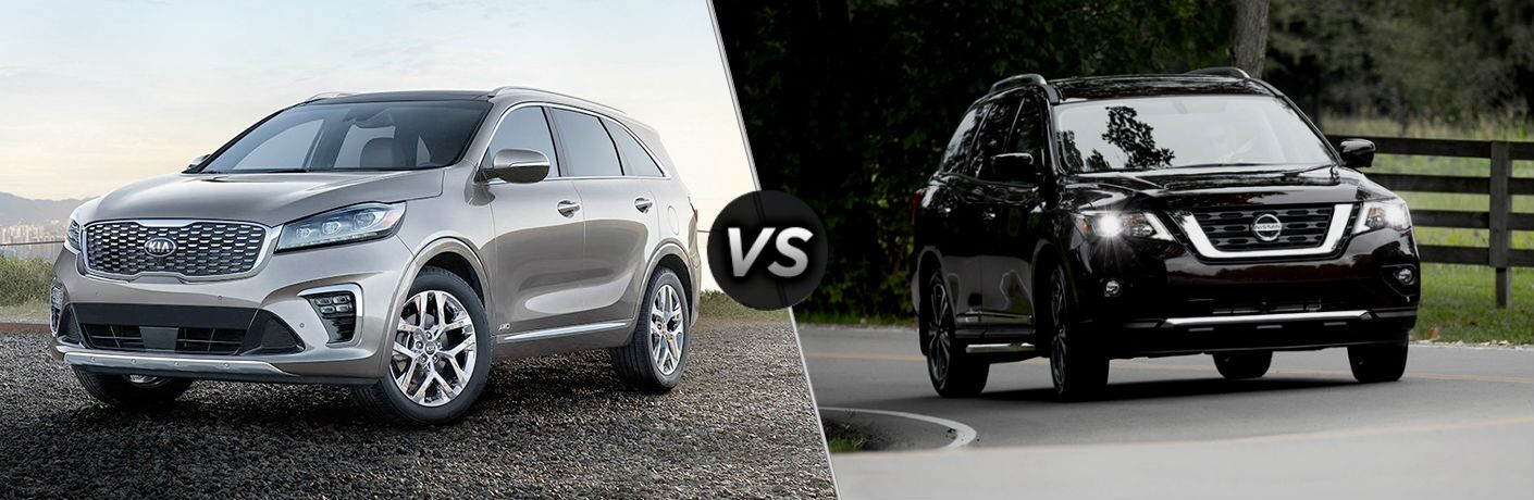 2019 Kia Sorento Vs. 2019 Nissan Pathfinder split screen image