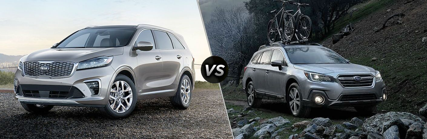 2019 kia sorento and 2019 subaru outback side by side comparison