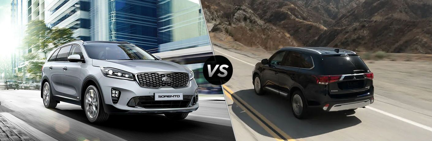 split screen comparison between 2019 Kia Sorento Vs. 2019 Mitsubishi Outlander