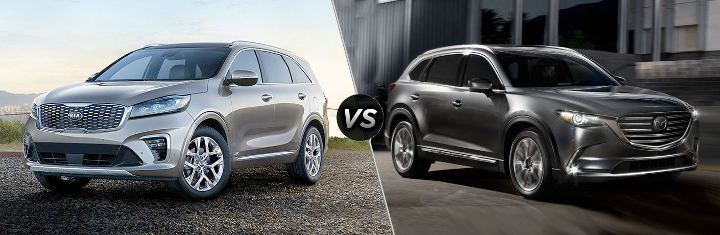2019 kia sorento and 2019 mazda cx-9 on split screen comparison image