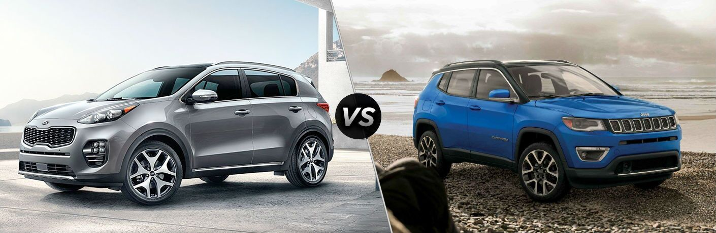side by side comparison of 2019 kia sportage and 2019 jeep compass