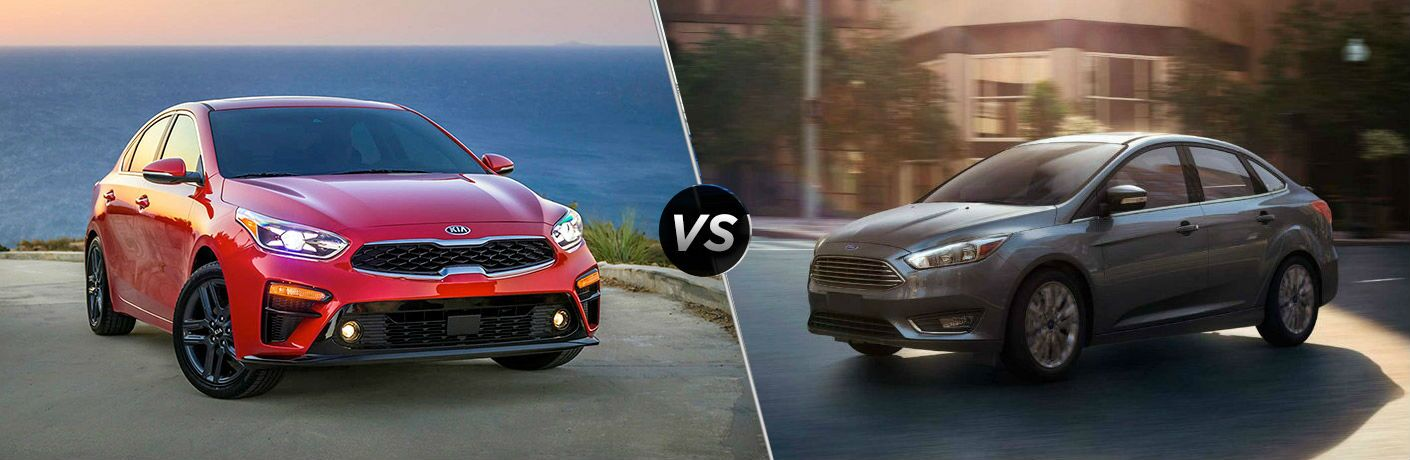 2019 Kia Forte Vs. Ford Focus on split screen image