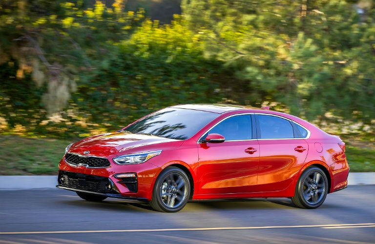 three quarter front driver side shot of 2019 kia forte