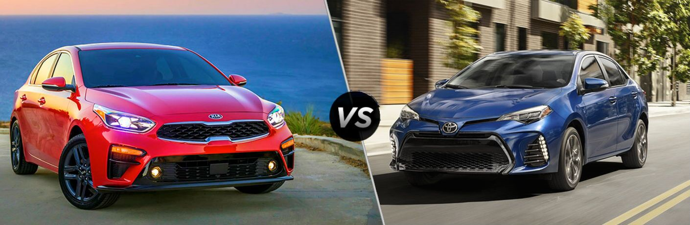 2019 Kia Forte Vs. 2019 Toyota Corolla shown in split screen image of the two