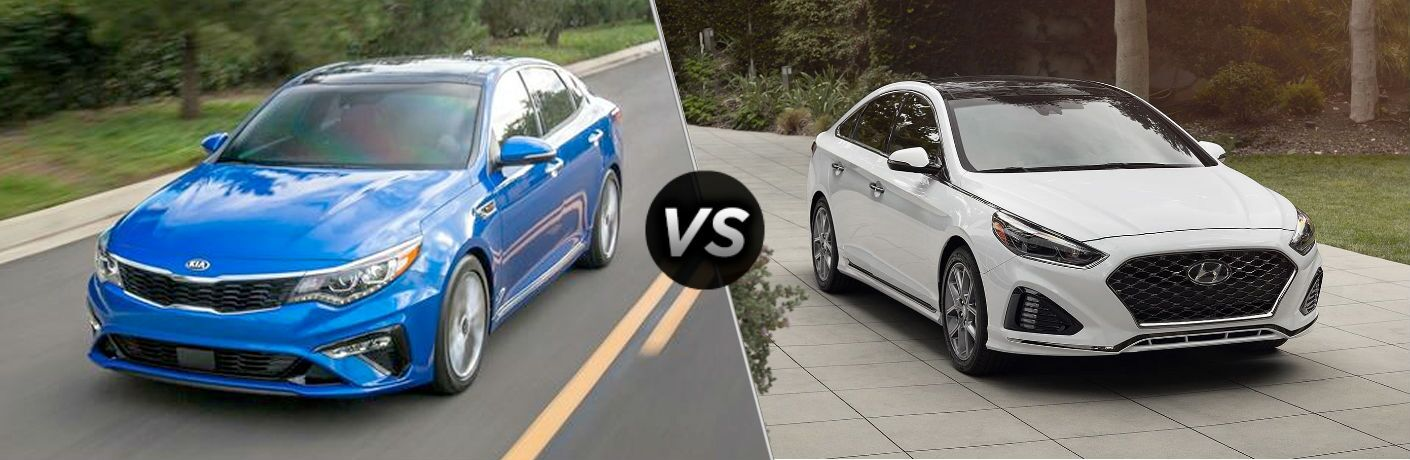 comparison image with split screen between 2019 Kia Optima Vs. 2019 Hyundai Sonata