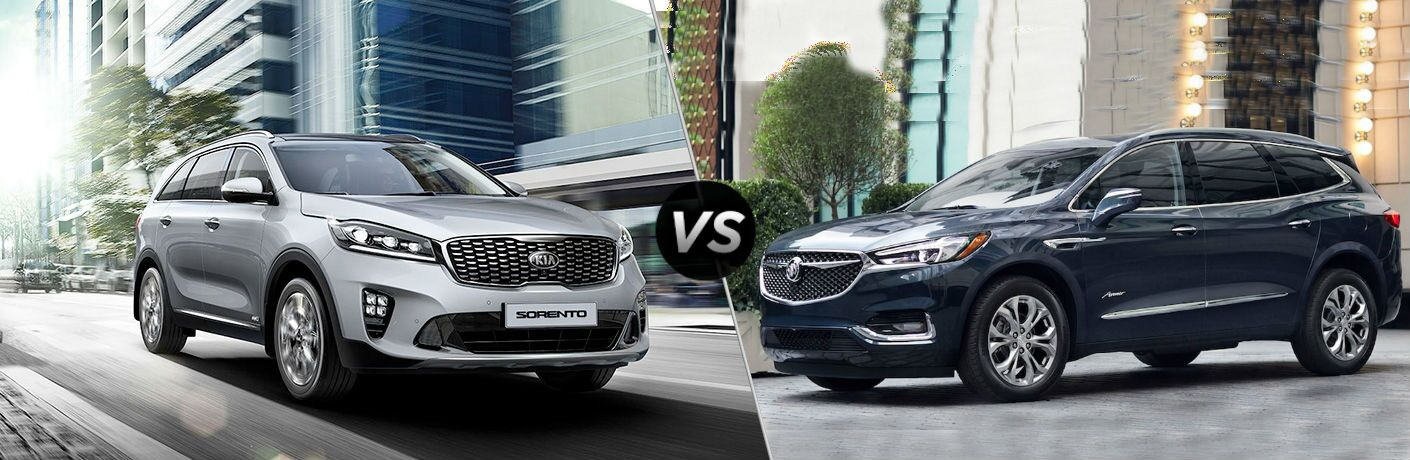split screen image with 2019 kia sorento and 2019 buick enclave