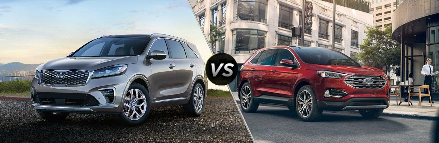 split screen comparison between 2019 ford edge and 2019 kia sorento