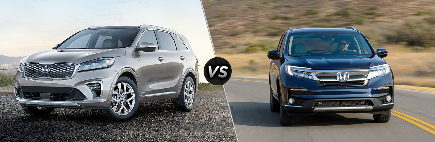 2019 Kia Sorento Vs. 2019 Honda Pilot shown on split screen image