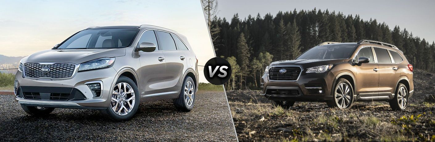 split screen comparison between 2019 kia sorento and 2019 subaru ascent