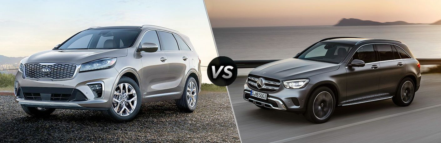 side by side comparison of 2019 Kia Sorento Vs. 2020 Mercedes-Benz GLC