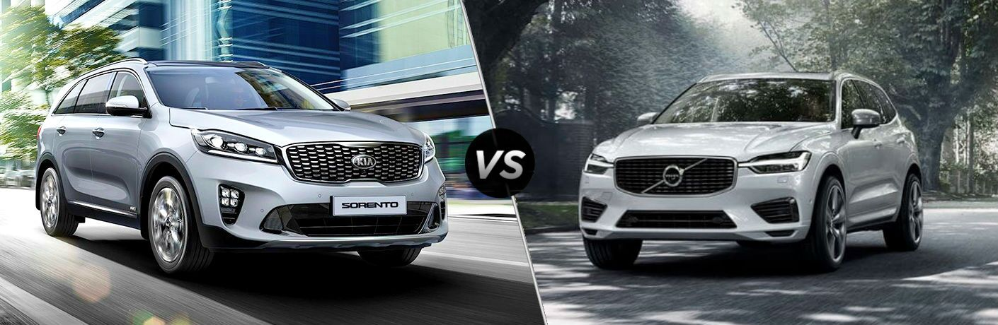 split screen comparison between 2019 Kia Sorento Vs. 2019 Volvo XC60